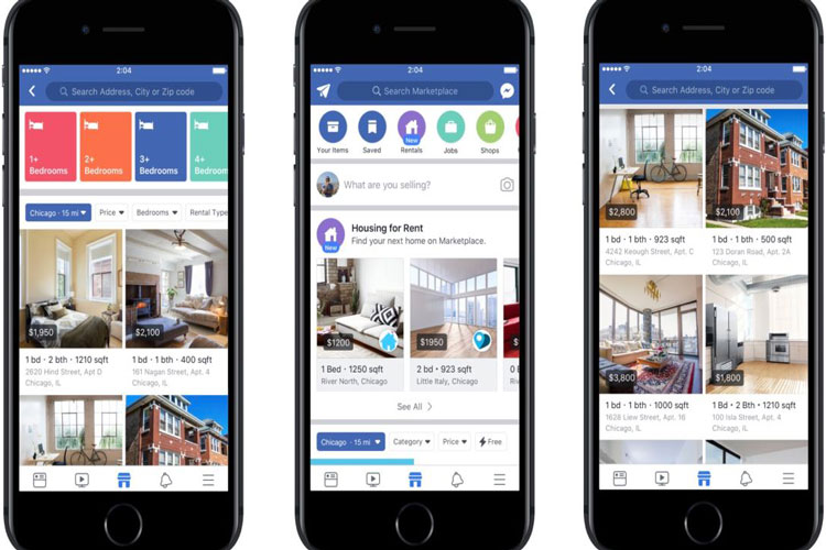 فیسبوک مکانهای اجارهای را به بازار خود اضافه کرد